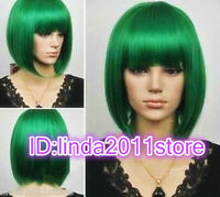 New Women Green Straight short Cosplay party lady's wigs + wig cap