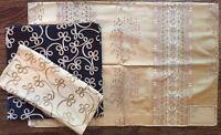 Highland Court 3 Designer 100% Silk Fabric Samples Gold Noir
