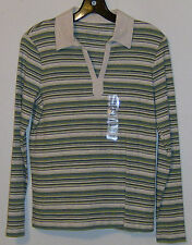 Charter Club Ladies Shirt Blouse Size Small New with Tags Oatmeal Green Blue