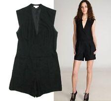 Helmut Lang black wool one-piece tuxedo shorts jumpsuit Size US 6 UK 10