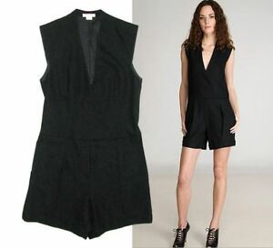 Helmut Lang black wool one-piece tuxedo shorts jumpsuit Size US 6 UK 10