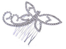 Womens Silver Clear Rhinestones Bridal Dragonfly Head Piece Hair Comb Clip Gift
