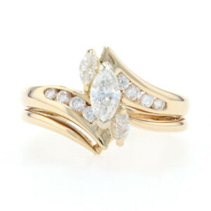 Gold Diamond Accent Bypass Engagement Ring & Wedding Ring - 14k Marquise .91ctw