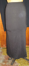 Black straight long stretch knit skirt with side slit, 'lily white', size small