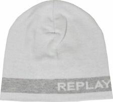 Blanc Replay Tricot Bonnet Unisexe pour les Hommes et Femmes