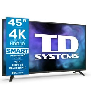 """Smart TV 45"""" 4K UHD, Android 9.0, HbbTV, HDR10 TD Systems K45DLJ12US"""