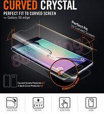 5 X COMPLETO CURVO Fit Screen Protector + 5 X PELLICOLA Posteriore per Samsung Galaxy S6 bordo