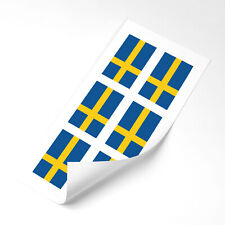 Sweden  Flag Stickers x6 25mm Car Motorbike Helmet Vinyl  Swedish Flag