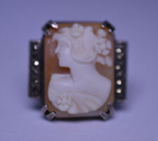 ANTIQUE STERLING SILVER CAMEO RING IN MARCASITE SETTING SIZE 3.5