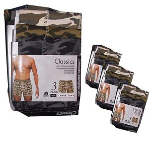 New 6 or 12 Mens Camouflage Boxers Shorts Army Print Classics Trunks, All Sizes
