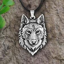 Tibetan Silver Wolf Head Pendant Necklace AmuletAnimal Viking Men Gift JewelryJC