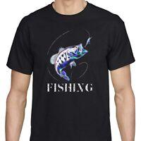 Men's Fishing Lure T shirt Funny Cool Cotton Fisherman Printed Bass Graphic Tee