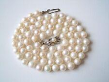 Echte Perlen Kette schöner 835 Silber Verschluß runde Perlen 27,4 g/58,5 cm