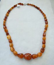 Beautiful Vintage Butterscotch Amber Natural Bead Necklace honey Egg Yolk
