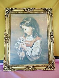 BEAUTIFUL YOUNG GIRL Holding SMALL DOLL by Mojer Large Framed Print RETRO #7387