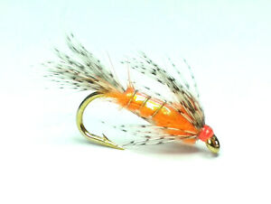 KILLER CRUNCHER ORANGE FLASHBACK TROUT FISHING FLIES - SIZE 10
