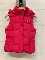 Ladies Womens Girls Pink Hollister Hooded Body Warmer Gilet Size Medium M (UK 8)