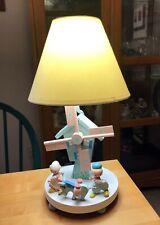 Vintage Irmi Wooden Nursery Lamp with Windmill
