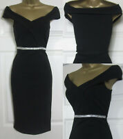 NEW Quiz Ladies Black Diamante Bardot Off Shoulder Dress Party Evening Size 8-18