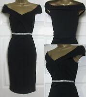 NEW Quiz Ladies Black Diamante Bardot Off Shoulder Dress Party Evening Size 8-18