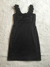 Maggy London Black Dress Ruffling Cocktail Dress SZ 8 Poly Cotton Stretch Lined
