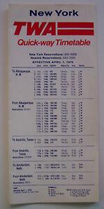 TWA New York Quick-way Timetable Effective April 1, 1976
