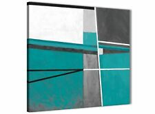 Teal Grey Painting Abstract Hallway Canvas Wall Art Decor 1s389l - 79cm