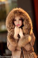 Real Raccoon Fur Hood Trim Scarf &wrist cuffs Nature Tanuki Jacket Fur Accessory
