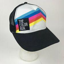 THE COLOR RUN Black Striped TRUCKER Snapback Mesh HAT Cap 5K Runner PINK Blue