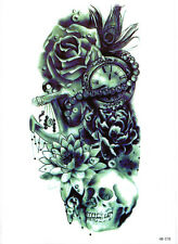 Rose Watch Anchor Skull Large Temporary Tattoo