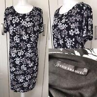 David Emanuel Size 20 Black Floral Dress Summer Holiday Beach Wedding