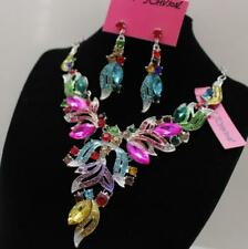 Rhinestone petal luxurious necklace earring Set Jewelry Betsy Johnson Pendant