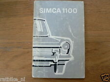 SIMCA 1100 1971 ?   HANDLEIDING OWNERS MANUAL,INSTRUCTION BOOK