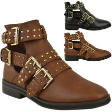Womens Black Punk Biker Flat Ankle Boots Rock Strappy Studded Ladies New Size