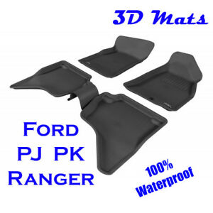 Suits Ford Ranger Dual Cab PJ PK 2006 - 2011 Genuine 3D Black Rubber Floor Mats