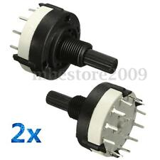 2x 1 Pole 12 Position Panel PCB Wiring Rotary Switch 18 Teeth Shaft Adjustable