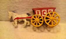 Vintage Antique Cast-Iron RED ICE WAGON Pulled by White Stallion Horse Figurine