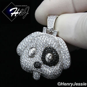 MEN 925 STERLING SILVER ICY DIAMOND BLING BLACK/SILVER $ PUPPY PENDANT*SP229
