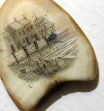 Antique Dockside Scrimshaw Scene Pendant- Signed