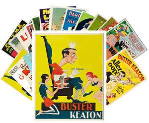 24 Postkarten Set * Buster Keaton und Harold Lloyd Retro Film Plakat CC1021
