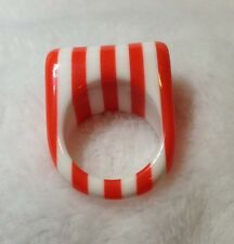 Lucite Striped Orange White Ring Size 6 1/2