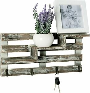 Rustic Torched Wood Wall Mounted Organizer Display Staggered Shelf w/ Key Hooks