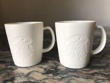 Set 2 -Starbucks ETCHED siren Mug - White, 3 Oz