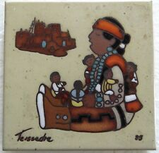 Ceramic Tile American Indian South Western CLEO TEISSEDRE Hand Painted Trivet