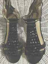 Shoes, ENZO ANGIOLINI, Black leather with shiny black beads, wedge SZ 4 1/2M