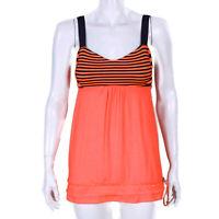 LULULEMON Neon Orange-Red Striped Tank Top Drawstring Hem Womens size 6 - 8152
