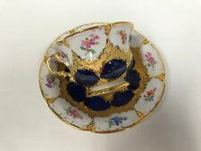 Meissen-esplendor mokkatasse azul, b-form, florecitas, oro bronce 1. elección, Top