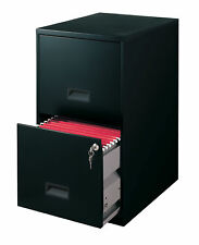 "Space Solutions 18"" 2 Drawer Metal File Cabinet, Black"