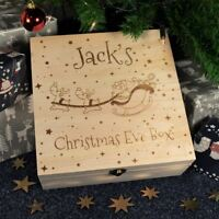 Personalised Christmas Eve Box Wooden Children Engraved Gift Box, Santa & Sleigh