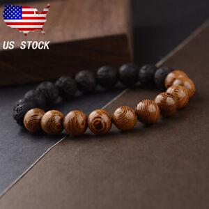 10mm Natural Lava Stone Wood Beads Bracelet Reiki Healing Men Women Jewelry Gift